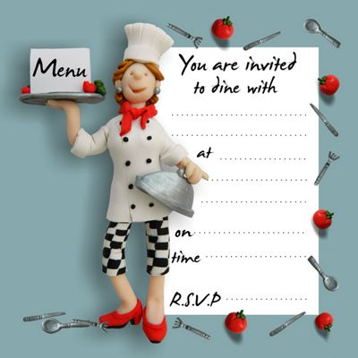 Holy Mackerel Invited to dine Party Invitations, Pack of 8