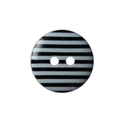 Hemline Two Hole Black Striped Buttons 22.5mm 3pk2