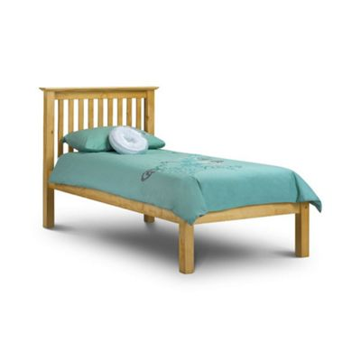 Happy Beds Barcelona Wood Low Foot End Bed with Open Coil Spring Mattress - Antique Pine - 3ft Single