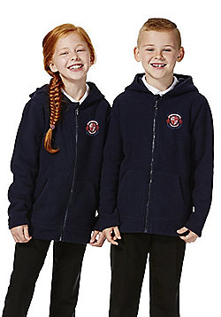 Unisex Embroidered School Zip-Through Fleece with Hood - Navy