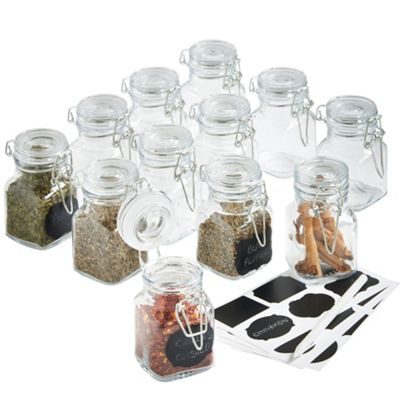 VonShef 12x Mini Clip Top Airtight Glass Jars