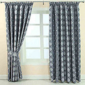 """Homescapes Blue Jacquard Curtain Abstract Aztec Design Fully Lined - 90"""" X 54"""" Drop"""