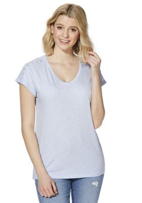 F&F Lace Insert Slub Jersey T-Shirt Pale Blue 22