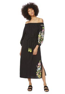 F&F Embroidered Bardot Midi Dress Black 16