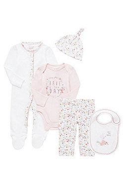 F&F 5 Piece Floral Print Baby Set - White