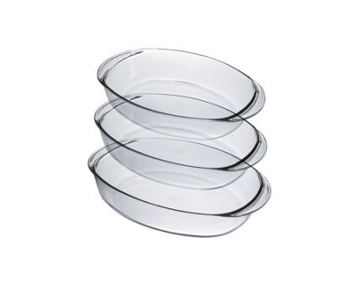 Duralex Oven Chef Oval Roasting Dishes - Set of 3 - Small, Medium & Large