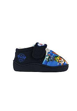 Boys Paw Patrol Navy Slippers Kids Hook & Loop UK Infant Sizes 5 to 10 - Blue