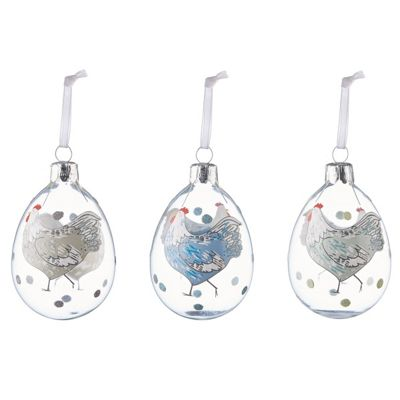 Set Of Three Glass Easter Egg Decorations