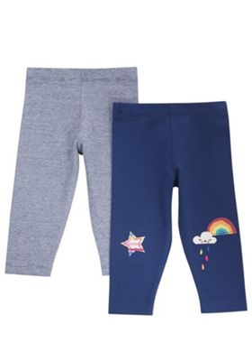 F&F 2 Pack of Rainbow Applique and Grindle Stripe Leggings Navy 0-1 months