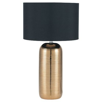 Gold Stripy Ceramic Table Lamp Complete