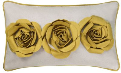 Stylish Soft Ivory Cushion With 3D Felt Mustard Roses Design