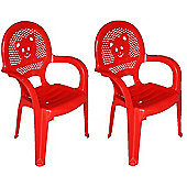 Resol Childrens Garden Plastic Chair - Red - (Pack of 2 chairs)