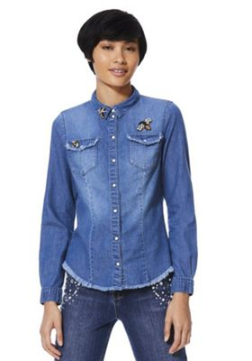 Only Bee Embellished Raw Hem Denim Shirt Mid Wash S