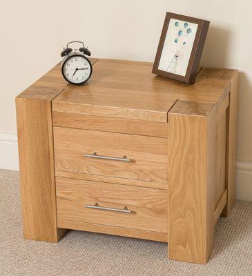 Kuba Chunky Solid Oak Wood 2 Drawer Bedside Side End Table