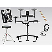 Roland TD-1KV V-Drums Electronic Drum Kit Package With Stool, Sticks, Headphones, And FREE Backbone Drums Tutorial Book And C.D