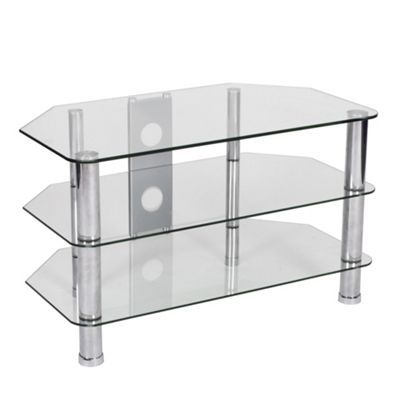 LEVV Universal Clear Glass and Chrome TV Stand For up to 37 inch TVs