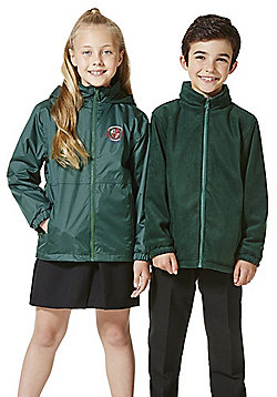 Unisex Embroidered Reversible School Fleece Jacket - Green