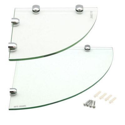 Glass Corner Bathroom / Bedroom Shelf - 1x 200x200mm & 1x 300x300mm