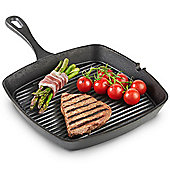 VonShef Black Pre-seasoned Cast Iron Griddle Pan – 26cm