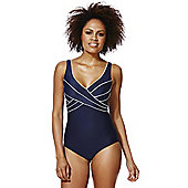 F&F Piped Wrap Style Swimsuit - Navy