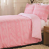 Pink Tapestry, Cross-Stitch Hearts, Reversible King Size Bedding - 100% Brushed Cotton