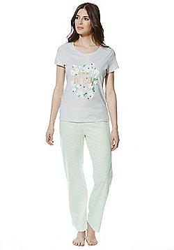 F&F Bee Lovely Slogan Daisy Print Jersey Pyjamas - Grey & Green