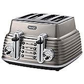 De'Longhi CTZ4003.BG Scultura 4 Slice Retro Classic Toaster - Champagne Bronze