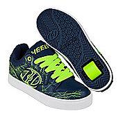 Heelys Motion Plus Navy/Bright Yellow/Electricity Kids Heely Shoe - Blue