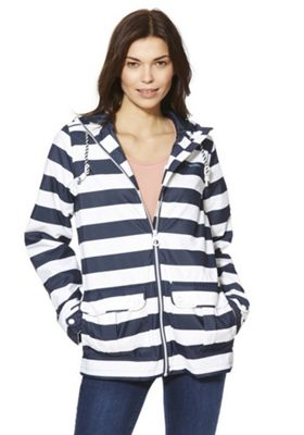 Regatta Bayeur II Striped Waterproof Hooded Jacket Navy 10