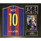 Framed Lionel Messi Barcelona Shirt 2016-2017