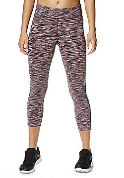 F&F Active Space Dye Cropped Leggings - Coral & Multi