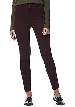 F&F High Rise Push-Up Skinny Jeans - Burgundy