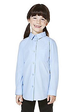 F&F School 2 Pack of Girls Easy Care Long Sleeve Shirts - Blue