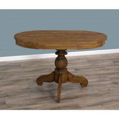 Reclaimed Teak Dining Table - Oval Pedestal - 120cm x 80cm