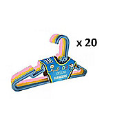 20 x Childrens Plastic Clothes Coat Hangers Pink Yellow Blue