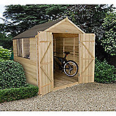 Forest Garden 7x7 Overlap Pressure Treated Double Door Apex Shed Installed