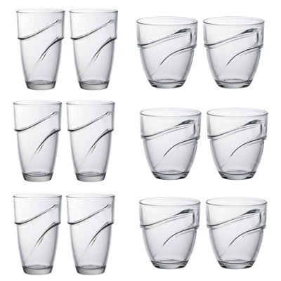 Duralex Wave Stacking Water / Juice Tumbler & Hiball Glasses Set x12 (6 of each)