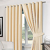 Dreamscene Cream Chenille Eyelet Lined Pair Curtains with Tiebacks - Cream