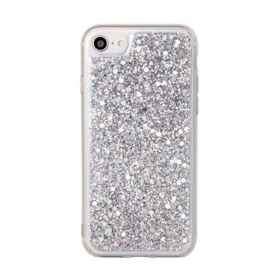 iPhone 8 TPU Glitter / Clear Covered Protective Case - Silver