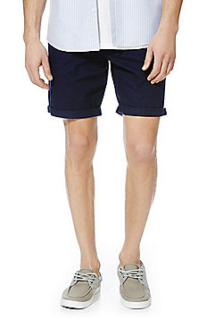 F&F Turn-Up Chino Shorts - Navy