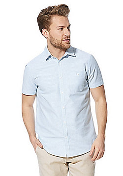F&F Striped Short Sleeve Oxford Shirt - Green