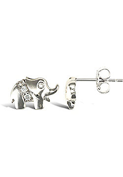 Jewelco London Rhodium Coated Sterling Silver Cubic Zirconia Elephant studs Stud Earrings - Ladies