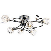Modern 6-Arm Ceiling Light in Satin Nickel with Transparent Glass Shades