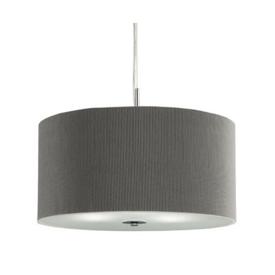 DRUM PLEAT PENDANT - 3 LIGHT PLEATED SHADE PENDANT SILVER WITH FROSTED GLASS DIFFUSER DIA 40CM