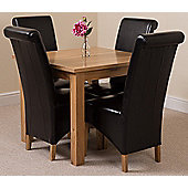 Oslo Solid Oak 90 cm Dining Table with 4 Black Montana Leather Chairs