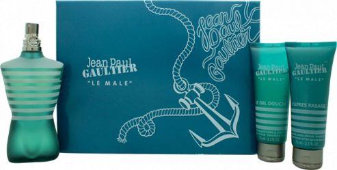 Jean Paul Gaultier Le Male Gift Set 125ml EDT + 75ml Shower Gel + 75ml Aftershave Balm For Men