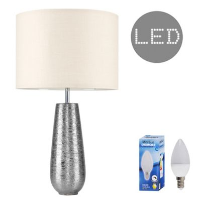 Hastings 65cm Touch Dimmer LED Table Lamp - Silver & Beige