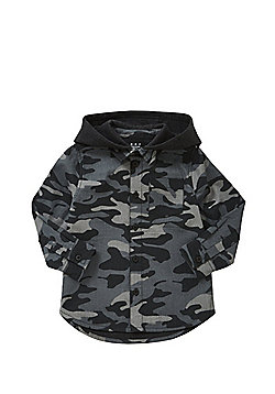 F&F Camouflage Print Fleece Lined Hooded Shirt - Khaki & Grey