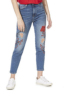 F&F Floral Embroidered Super High Rise Relaxed Skinny Jeans - Mid Wash