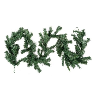 Homescapes Plain Green Artificial Christmas Long Garland, 6 Foot